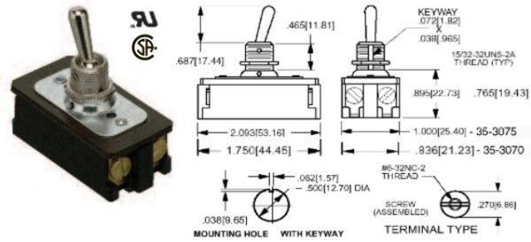 35-3075-000 TOGGLE SWITCH