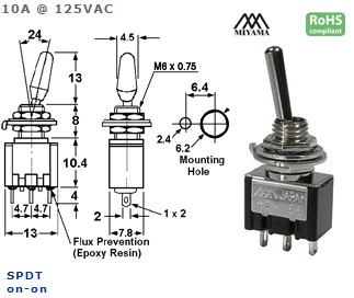 41-213-256 HIGH CURRENT TOGGLE SWITCH