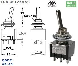 41-223-335 HIGH CURRENT TOGGLE SWITCH