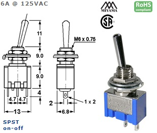 41-230-206 STANDARD SUB-MINIATURE SWITCH