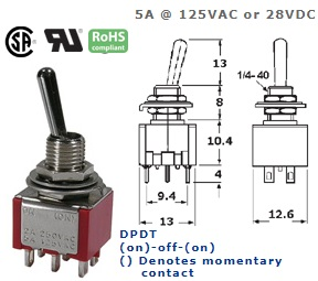 41-247T‐135 SUB-MINIATURE TOGGLE SWITCH