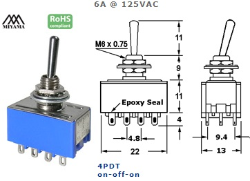 41-255-500 STANDARD SUB-MINIATURE SWITCH