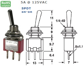 41-263‐66 P.C. MOUNT SUB-MINIATURE TOGGLE SWITCH
