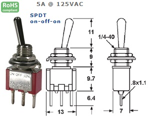 41-265‐76 P.C. MOUNT SUB-MINIATURE TOGGLE SWITCH