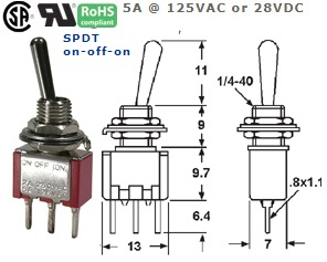 41-265T‐97 P.C. MOUNT SUB-MINIATURE TOGGLE SWITCH