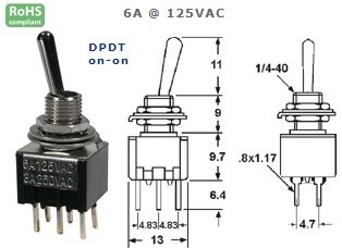 41-273‐88 P.C. MOUNT SUB-MINIATURE TOGGLE SWITCH