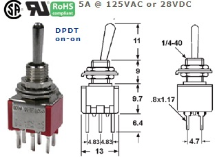 41-273T‐89 SUB-MINIATURE TOGGLE SWITCH