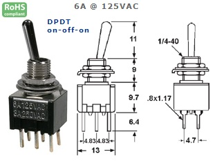 41-275‐102 P.C. MOUNT SUB-MINIATURE TOGGLE SWITCH