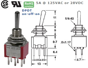 41-275T‐125 P.C. MOUNT SUB-MINIATURE TOGGLE SWITCH