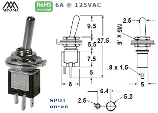 41-313‐155 ULTRA MINIATURE TOGGLE SWITCH
