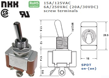 42-424S-605 STANDARD TOGGLE SWITCH