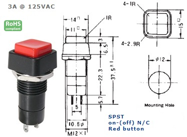 44-483-61 PUSH BUTTON SWITCH