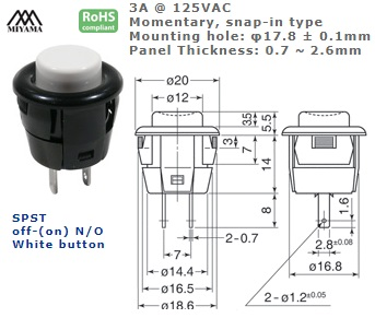 44-530N‐155 PUSH BUTTON SWITCH