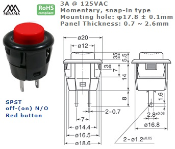 44-532N‐155 PUSH BUTTON SWITCH