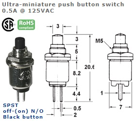 44-541-108 ULTRA-MINIATURE PUSH BUTTON SWITCH
