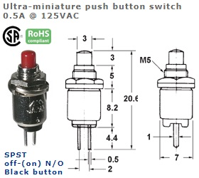 44-542-108 ULTRA-MINIATURE PUSH BUTTON SWITCH