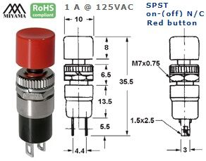 44-570-190 PUSH BUTTON SWITCH