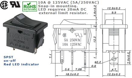 46-140J-118 ROCKER SWITCH