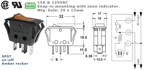 46-190J-110 ROCKER SWITCH