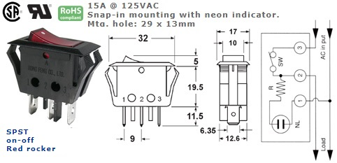 46-192J-108 RED ROCKER SWITCH