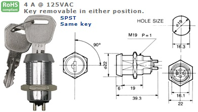 47-282K-405 KEY SWITCH