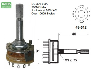 48-512-97 ROTARY SWITCH 2 POLE 6 POSITION