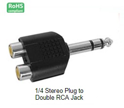 15-1916, 1/4 Stereo Plug to Double RCA Jack