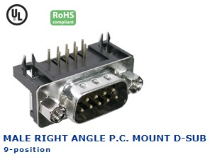 30-410‐56 MALE RIGHT ANGLE P.C. MOUNT D-SUB