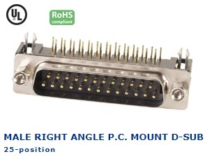 30-412‐71 MALE RIGHT ANGLE P.C. MOUNT D-SUB