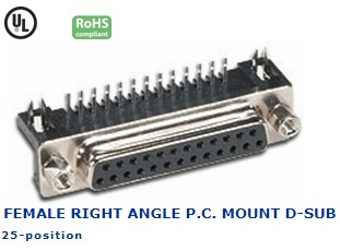 30-422‐69 FEMALE RIGHT ANGLE P.C. MOUNT D-SUB