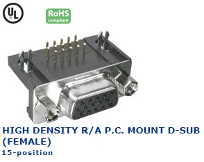 30-860‐51 HIGH DENSITY R/A P.C. MOUNT D-SUB (F)