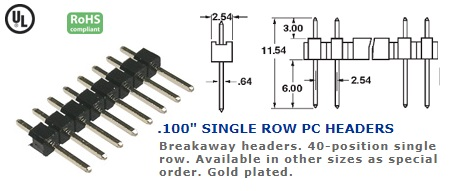 36-140G-20 .100″ SINGLE ROW PC HEADERS