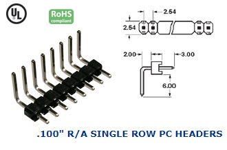 36-340G-36 .100″ R/A SINGLE ROW PC HEADERS